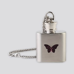 butterfly: breast cancer hope coura Flask Necklace