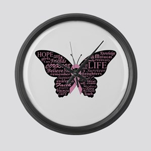 butterfly: breast cancer hope cou Large Wall Clock