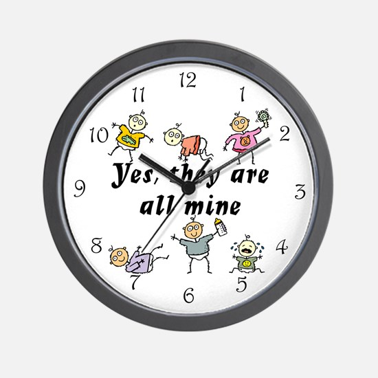 All Mine (6 Kids) Wall Clock