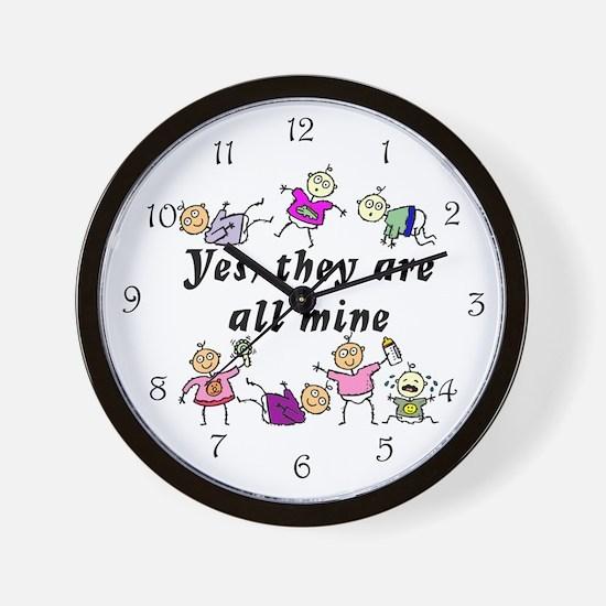 All Mine (7 Kids) Wall Clock