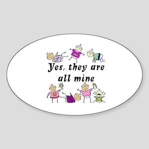 All Mine (7 Kids) Oval Sticker