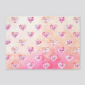 Vintage Pink Hearts with Love Words 5'x7'Area Rug