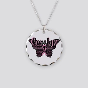 Breast Cancer Courage Necklace Circle Charm