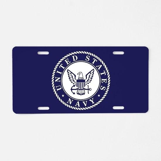 US Navy Emblem Blue White Aluminum License Plate