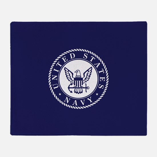 US Navy Emblem Blue White Throw Blanket
