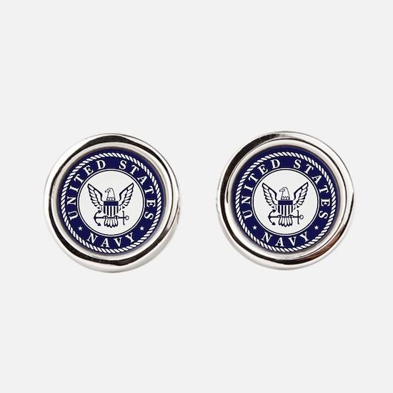 US Navy Emblem Blue White Round Cufflinks