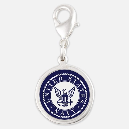 US Navy Emblem Blue White Charms