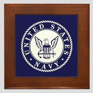 US Navy Emblem Blue White Framed Tile