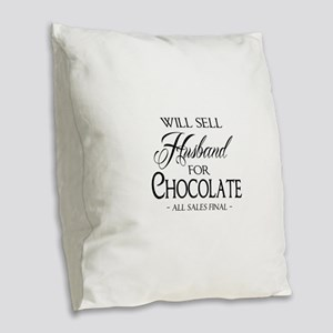 Husband for Chocolate Burlap Throw Pillow