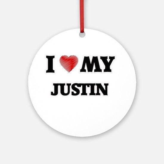 I love my Justin Round Ornament