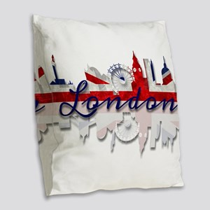 London Skyline Burlap Throw Pillow