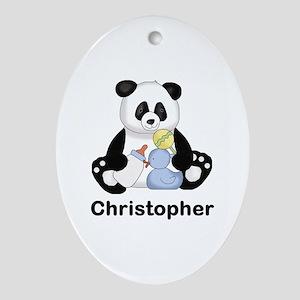 Christopher's Little Panda Oval Ornament