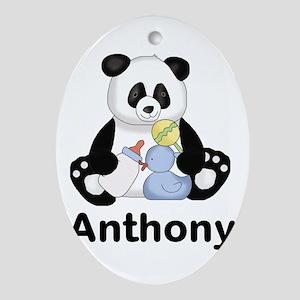 Anthony's Little Panda Oval Ornament