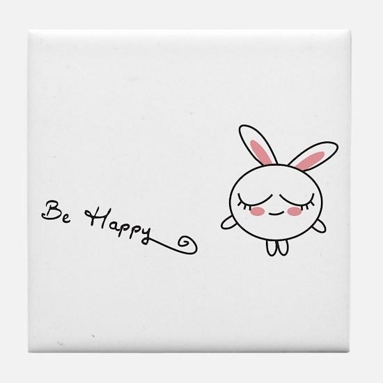 Be Happy Bunny Tile Coaster