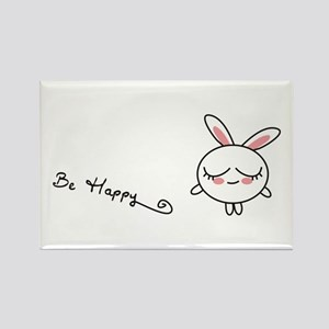 Be Happy Bunny Rectangle Magnet