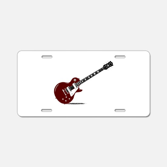 Isolated Rock Guitar Aluminum License Plate