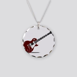 Isolated Rock Guitar Necklace Circle Charm