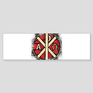 Alpha Omega Stained Glass Bumper Sticker