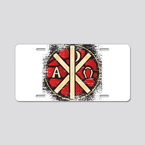 Alpha Omega Stained Glass Aluminum License Plate