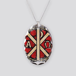 Alpha Omega Stained Glass Necklace Oval Charm