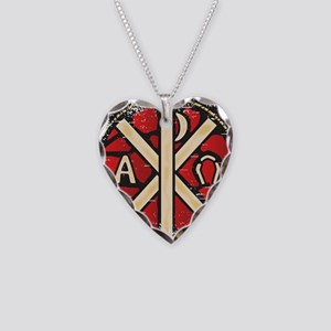 Alpha Omega Stained Glass Necklace Heart Charm