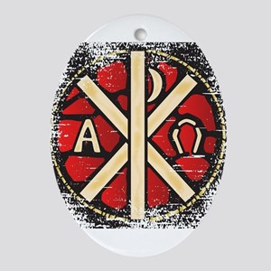 Alpha Omega Stained Glass Oval Ornament