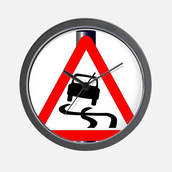 Danger SkiddingTraffic Sign Wall Clock