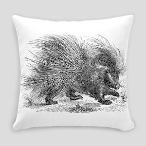 Vintage Porcupine Porcupines Black Everyday Pillow