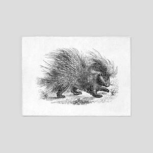 Vintage Porcupine Porcupines Black 5'x7'Area Rug