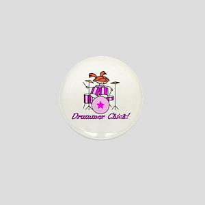 Drummer Chick Mini Button