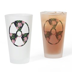 Floral Radioactive Symbol Drinking Glass