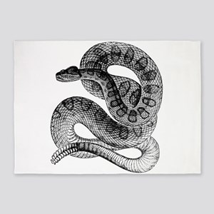 Vintage Rattlesnake Rattle Snake Bl 5'x7'Area Rug
