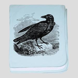 Vintage Raven Black Bird Crow Black W baby blanket