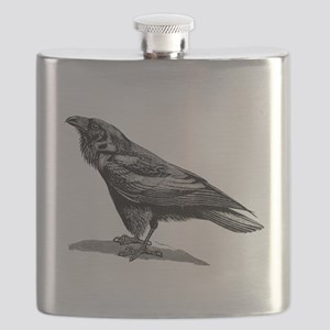 Vintage Raven Crow Black Bird Black White Flask