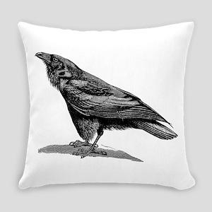 Vintage Raven Crow Black Bird Blac Everyday Pillow