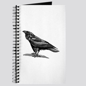 Vintage Raven Crow Black Bird Black White Journal