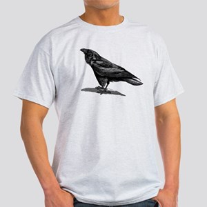 Vintage Raven Crow Black Bird Black White T-Shirt