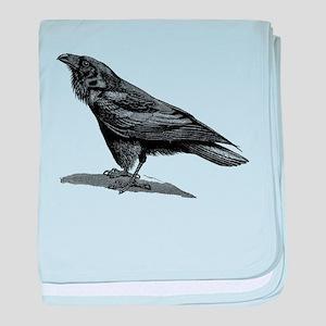 Vintage Raven Crow Black Bird Black W baby blanket