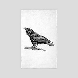 Vintage Raven Crow Black Bird Black White Area Rug