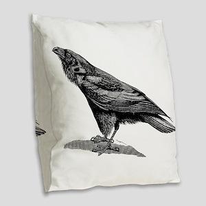 Vintage Raven Crow Black Bird Burlap Throw Pillow