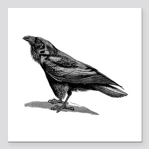 """Vintage Raven Crow Black Square Car Magnet 3"""" x 3"""""""