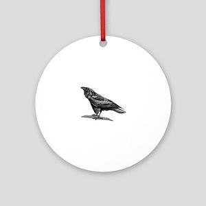 Vintage Raven Crow Black Bird Black Round Ornament