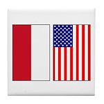 Indonesian & US Flags Tile Coaster