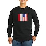 Indonesian & US Flags Long Sleeve Dark T-Shirt