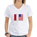 Indonesian & US Flags Women's V-Neck T-Shirt
