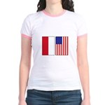 Indonesian & US Flags Jr. Ringer T-Shirt
