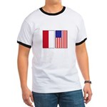 Indonesian & US Flags Ringer T