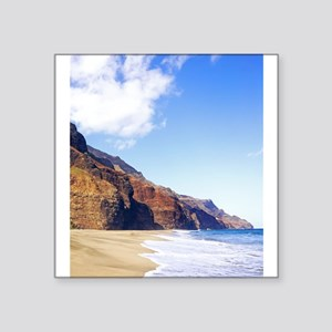 "Kalalau Beach Kauai Hawaii Square Sticker 3"" x 3"""