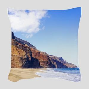 Kalalau Beach Kauai Hawaii Woven Throw Pillow