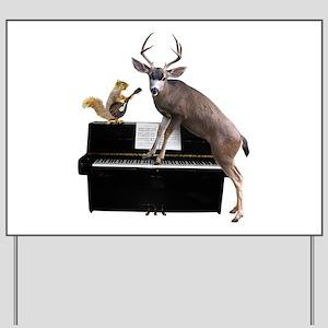 Deer Piano Yard Sign
